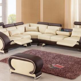 угловой диван в гостиной оформление фото