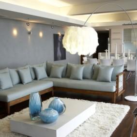 угловой диван в гостиной фото оформление