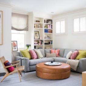 угловой диван в гостиной виды