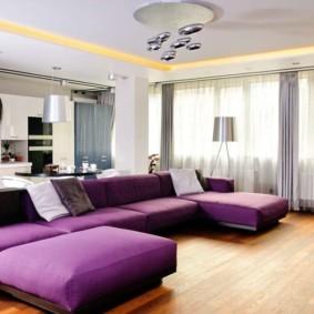 угловой диван в гостиной виды декора