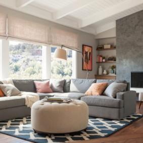 угловой диван в гостиной фото идеи