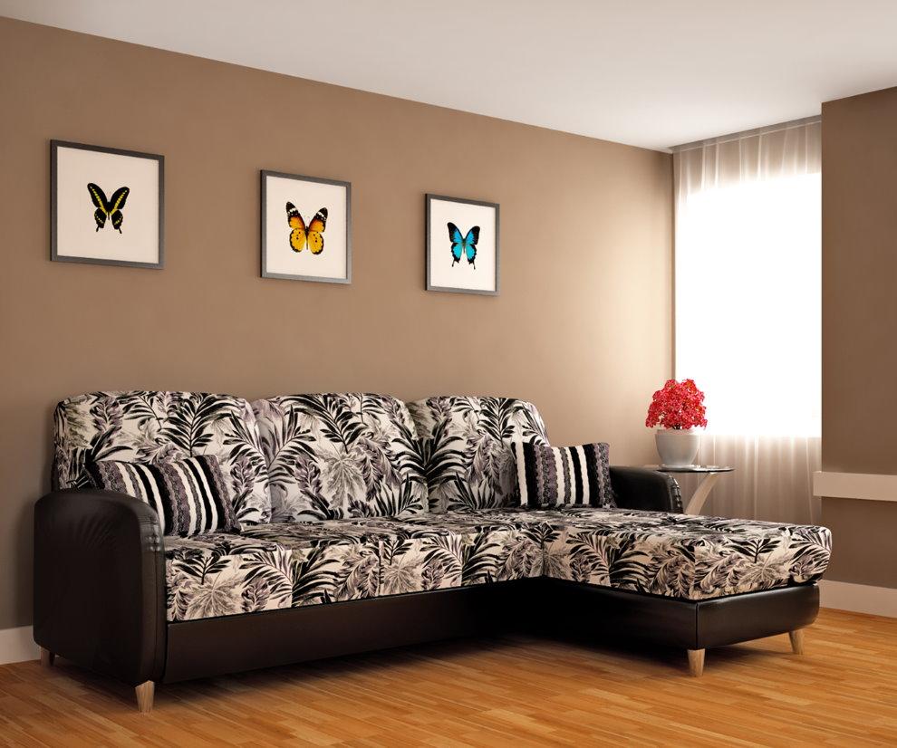 Модульные картины над угловым диваном