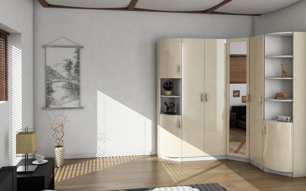 Глянцевые фасады углового шкафа в зале