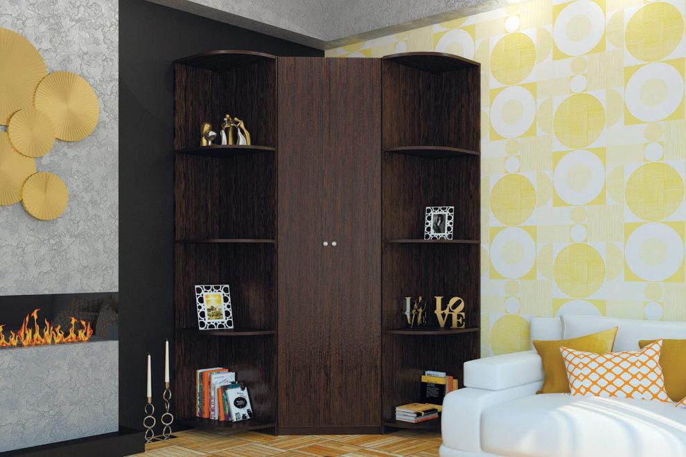 Угловой шкаф венге для небольшого зала