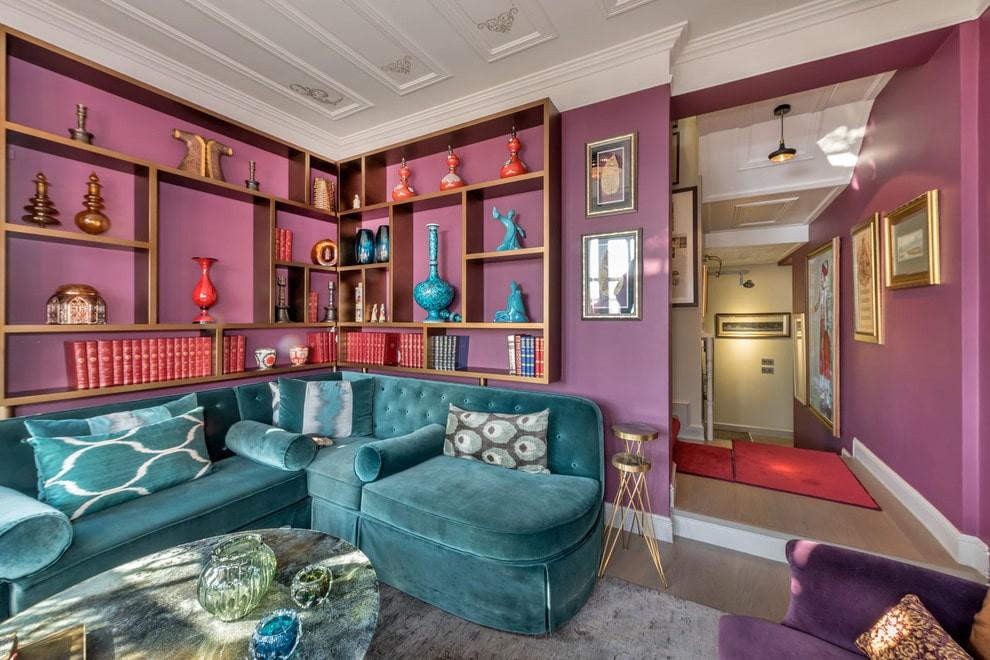 угловой диван в гостиной модерн