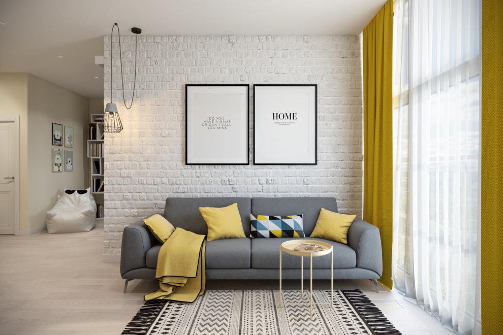 Интерьер комнаты в квартире площадью 45 кв метров