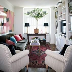 узкая гостиная в квартире декор