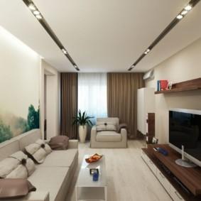 узкая гостиная в квартире фото декора