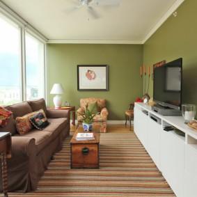 узкая гостиная в квартире декор идеи