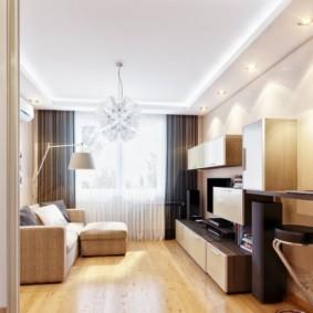 узкая гостиная в квартире варианты фото