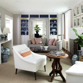 узкая гостиная в квартире фото идеи
