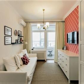 узкая гостиная в квартире дизайн фото