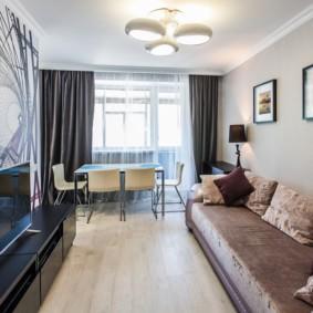 узкая гостиная в квартире фото дизайна