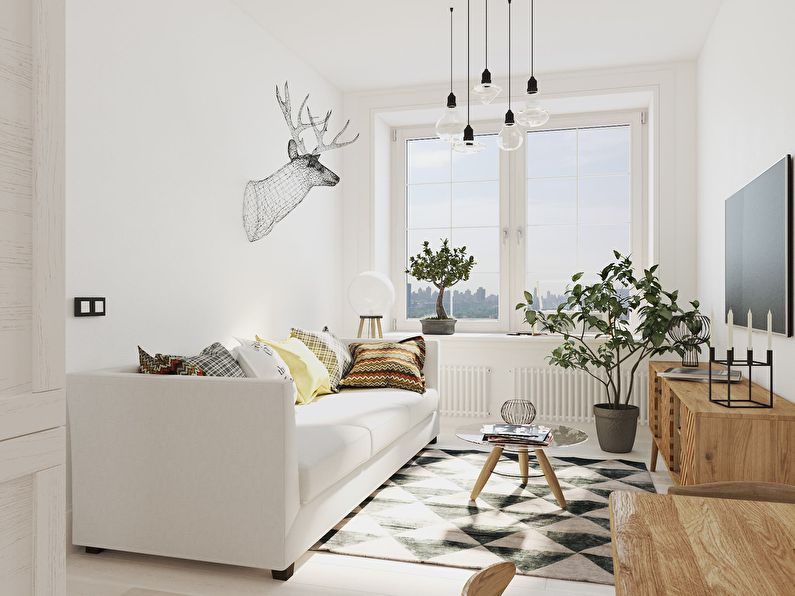 узкая гостиная в скандинавском стиле