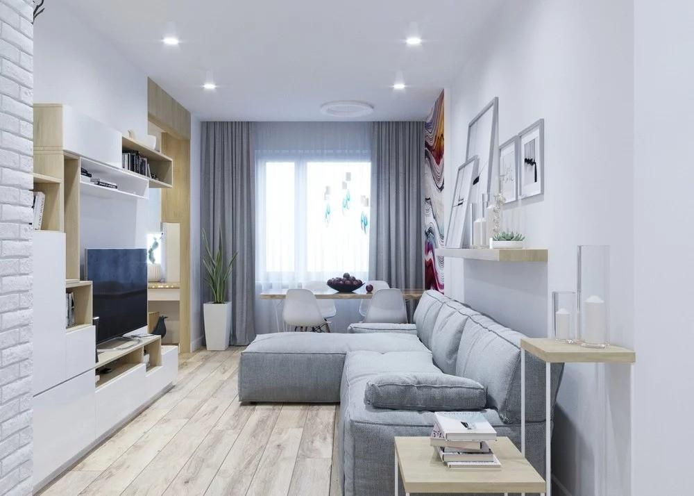 узкая гостиная в скандинавском стиле фото