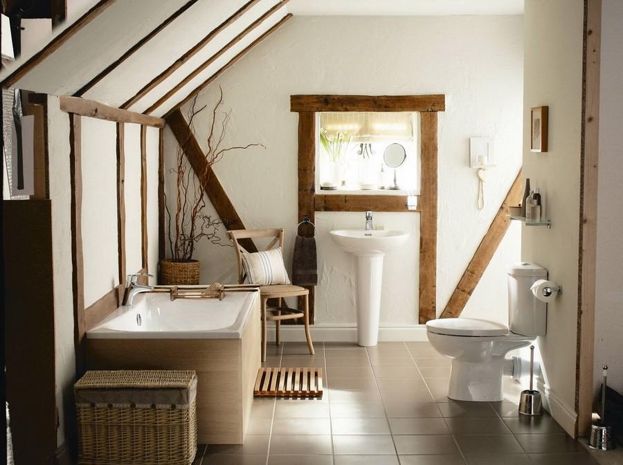 Ванная комната в стиле кантри в мансарде частного дома