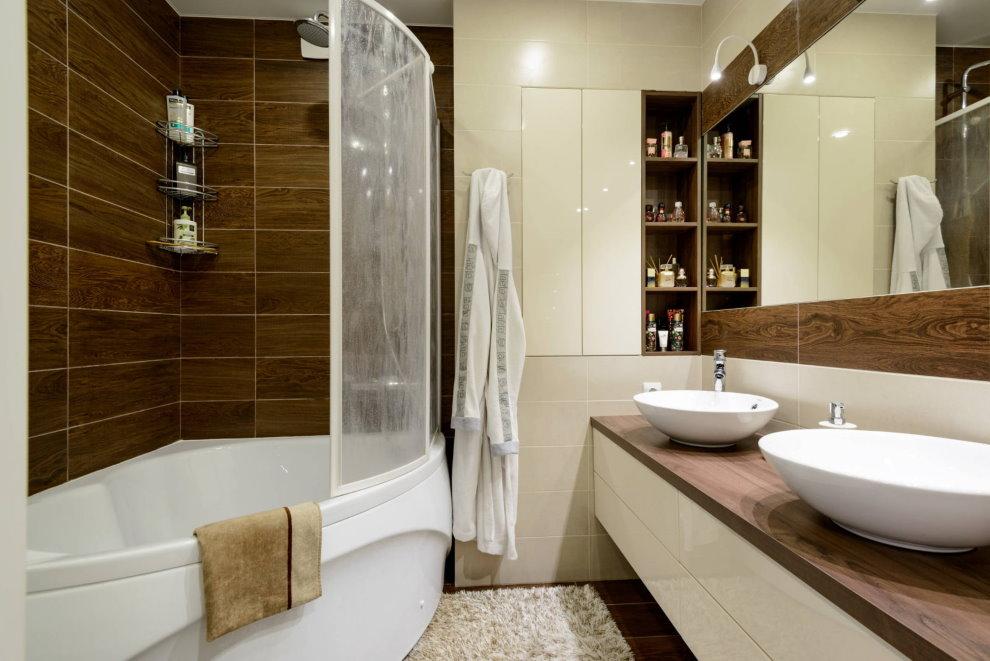 Две раковины в ванной современного стиля