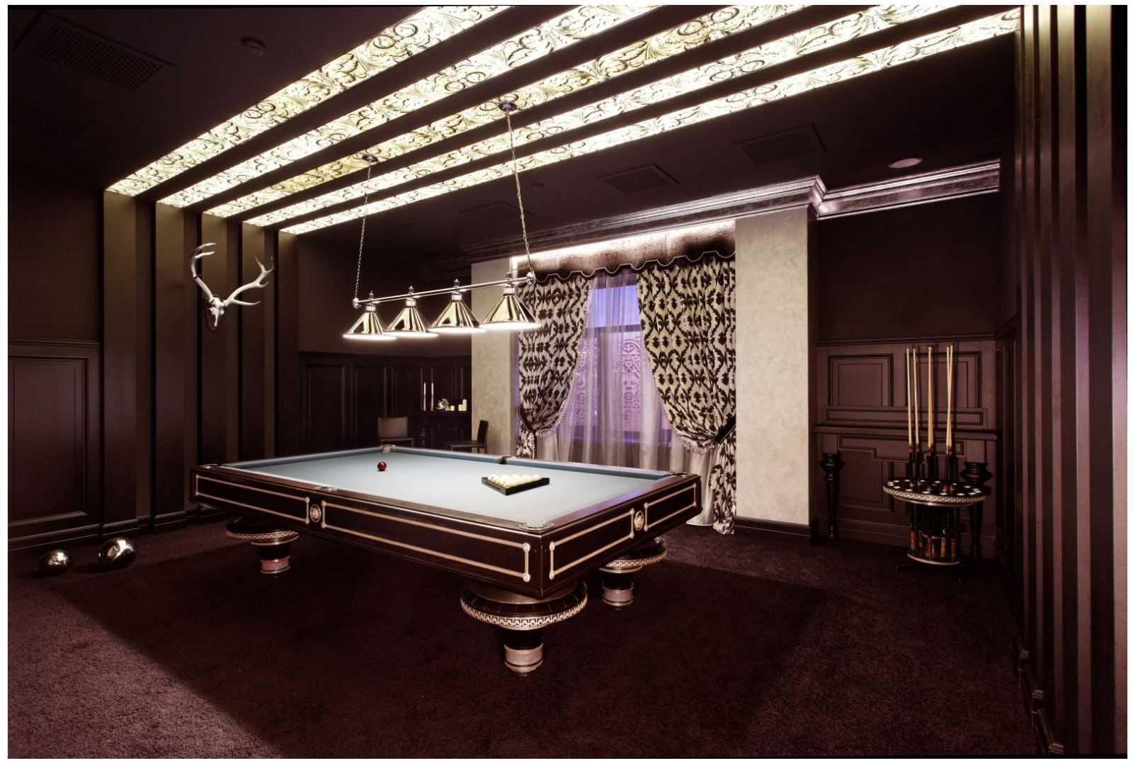 бильярдная комната стильный интерьер