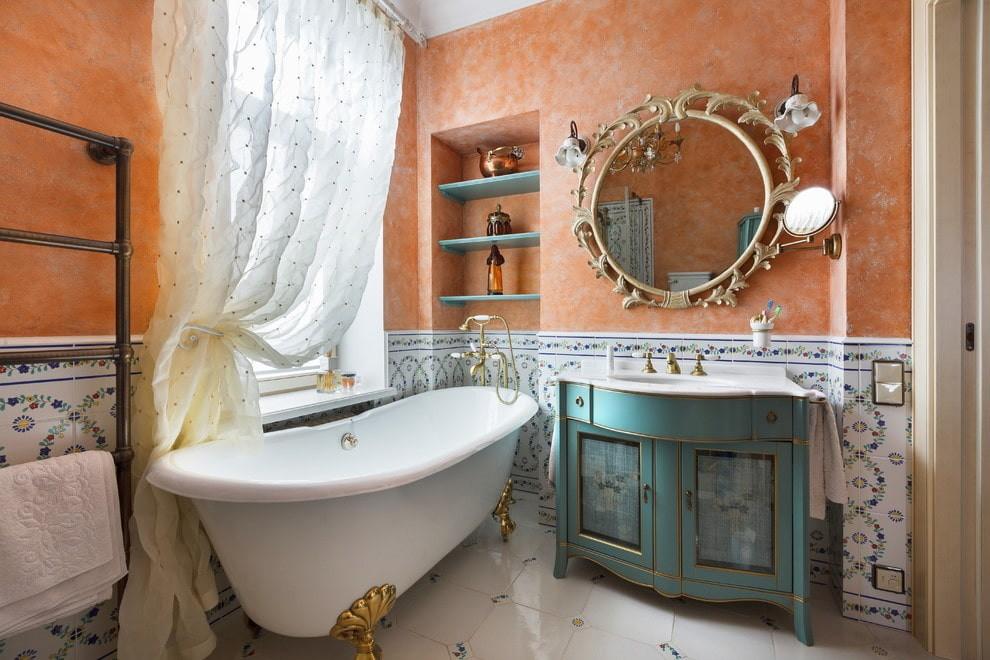 Отделка венецианской штукатуркой стен ванной в частном доме