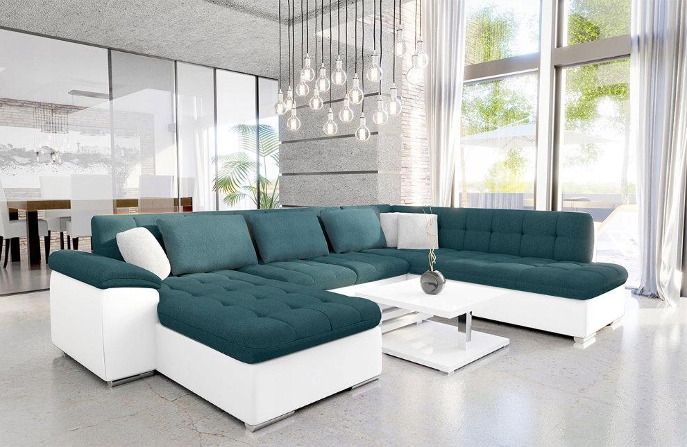 Контрастный угловой диван П-образного типа