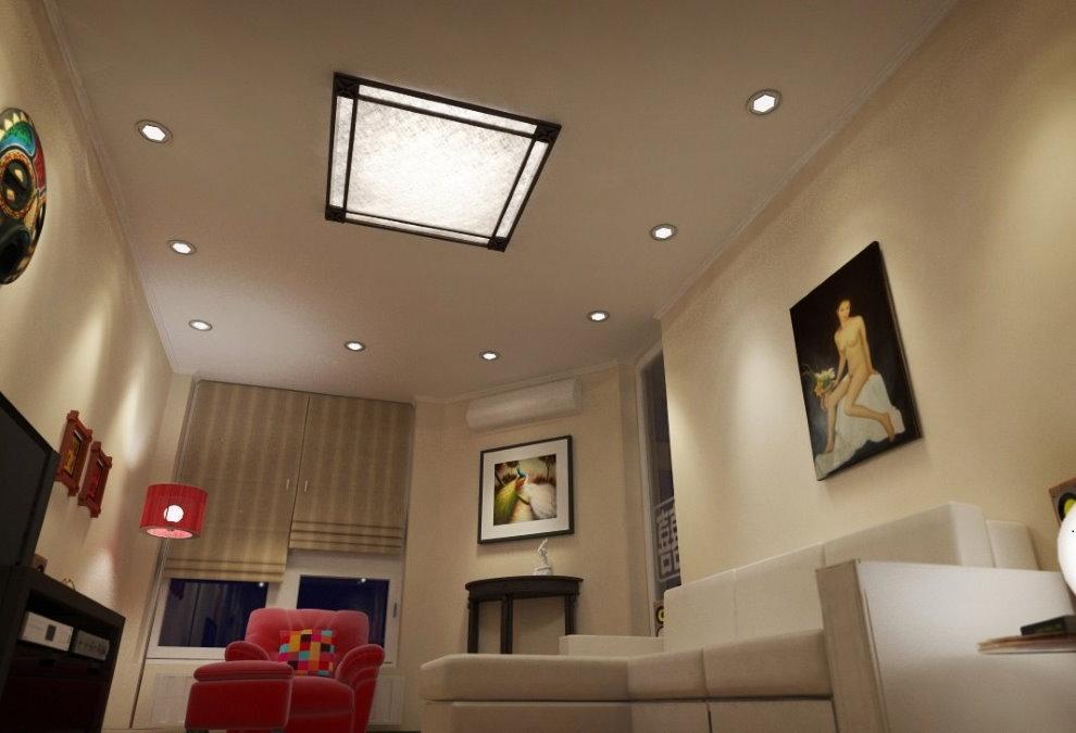 Встроенный светильник на потолке гостиной