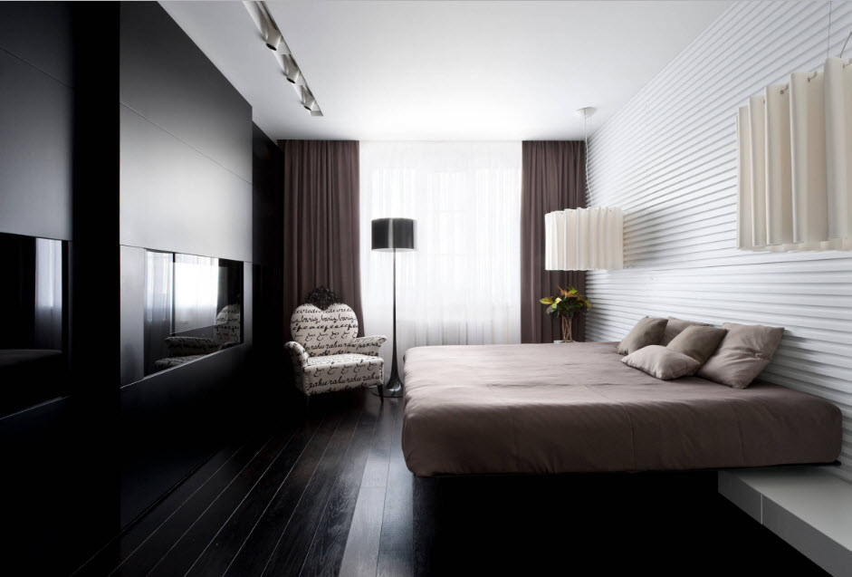 Дизайн спальни со встроенным телевизором