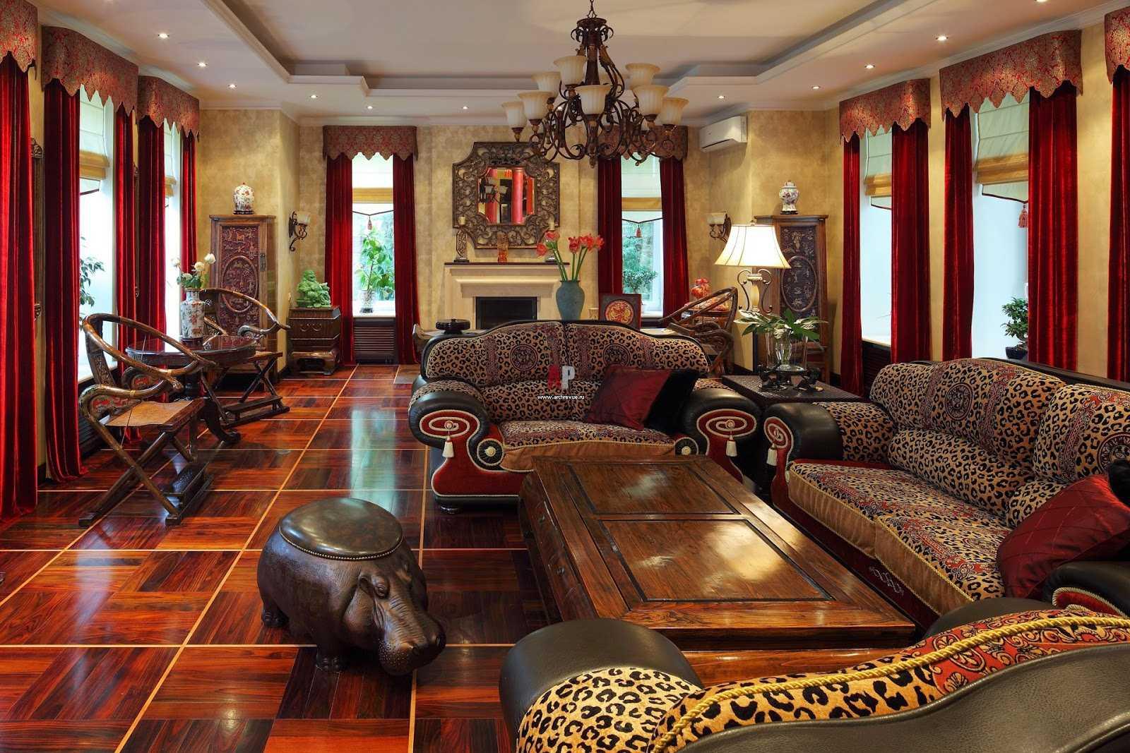 яркая гостиная в восточном стиле
