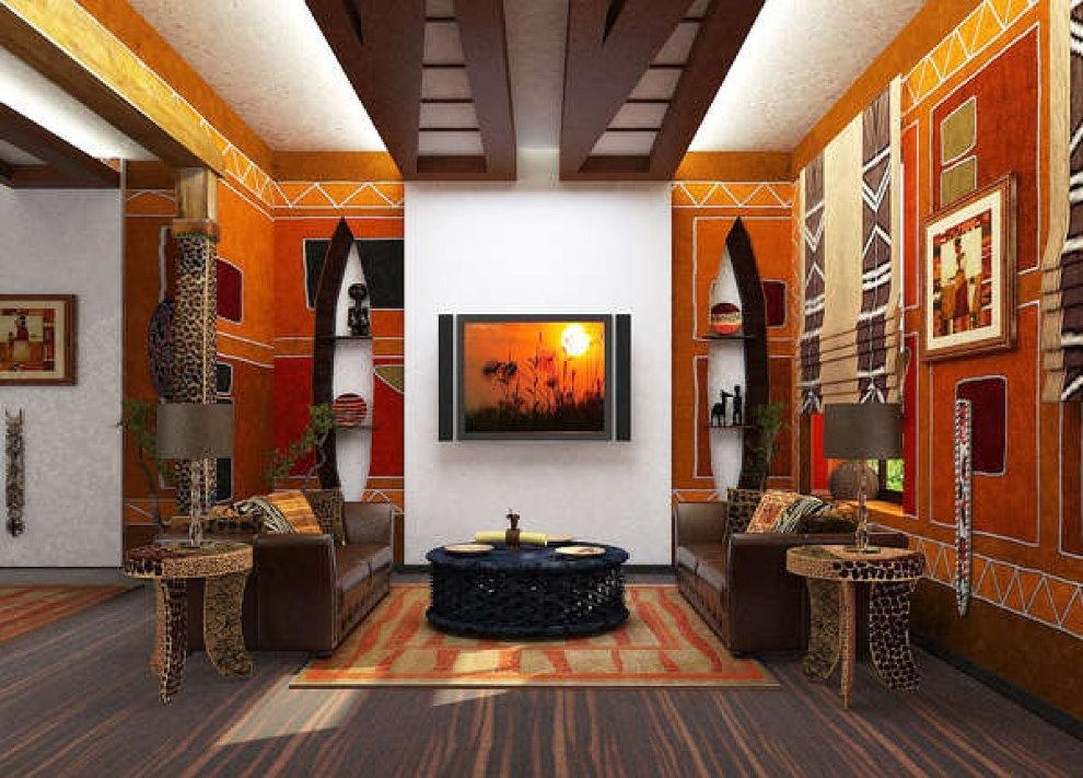 Интерьер зала в африканском стиле