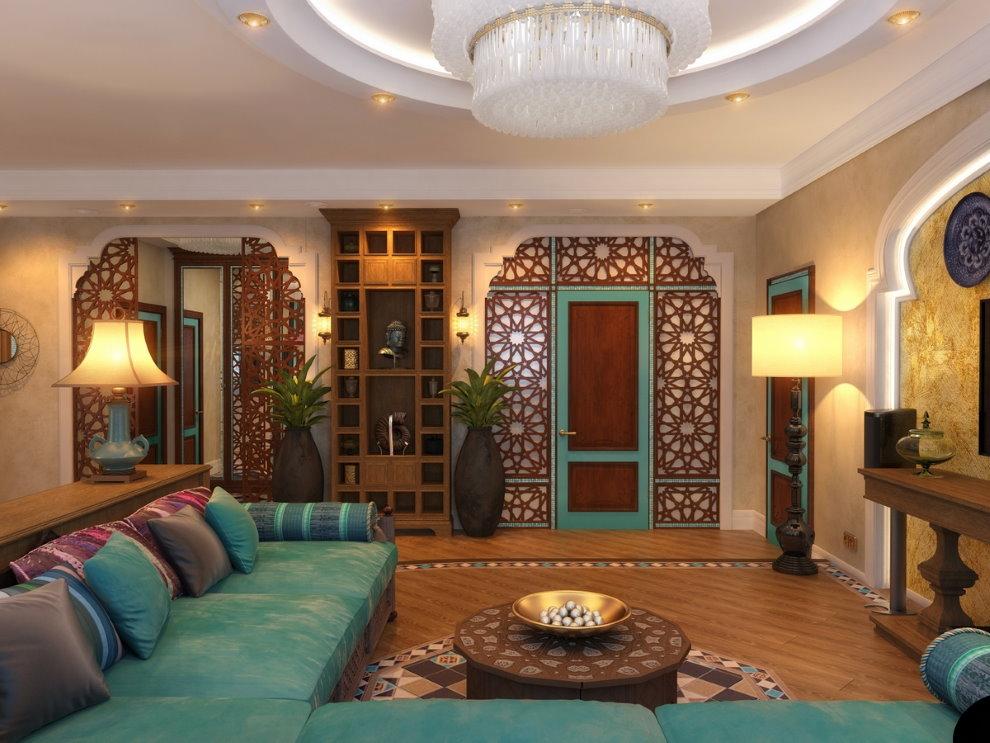 Арабский стиль в дизайне зала современной квартиры