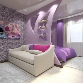 Сиреневый цвет в дизайне зала