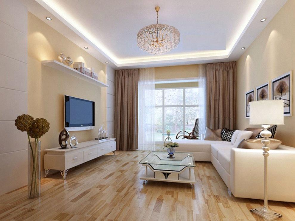 Светодиодная подсветка потолка зала в квартире