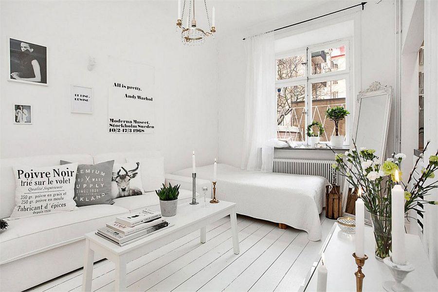 Кровать в зале 18 кв метров с белыми стенами
