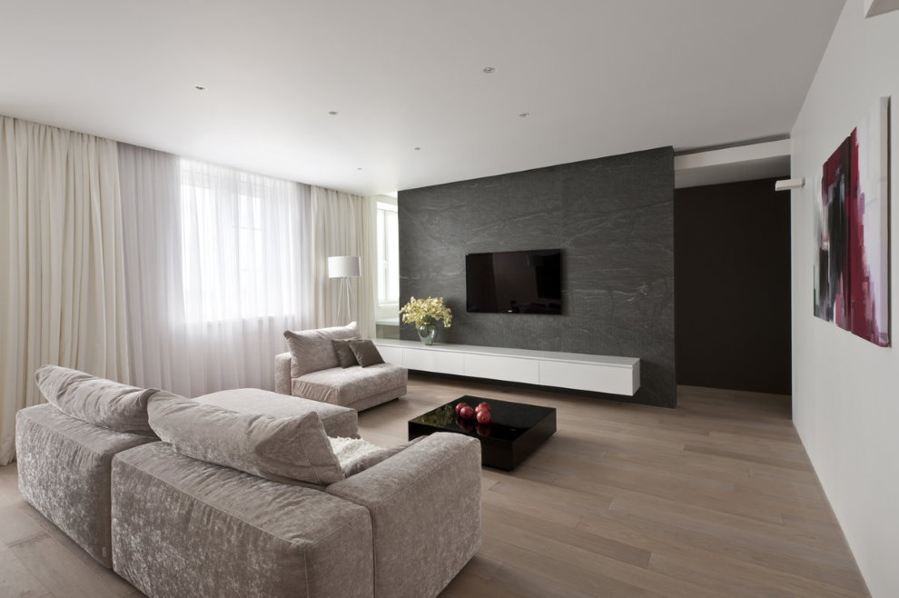 Прямой диван в зале квартиры стиля минимализма