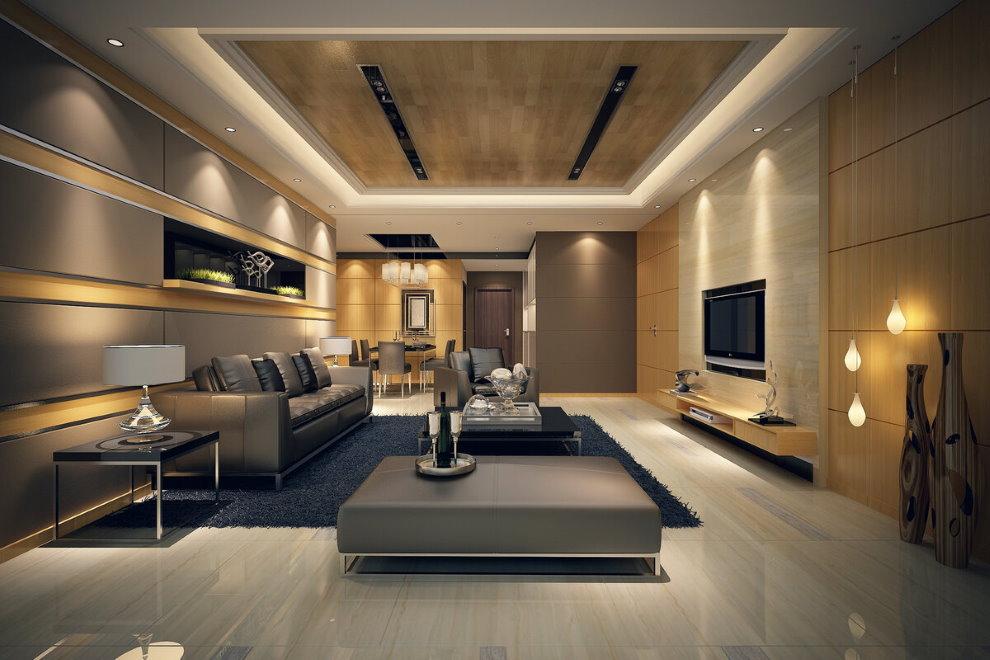 Освещение просторного зала в стиле модерн