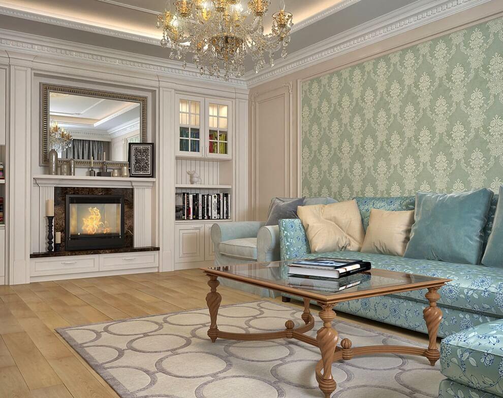 Угловой диван в гостиной неоклассического стиля