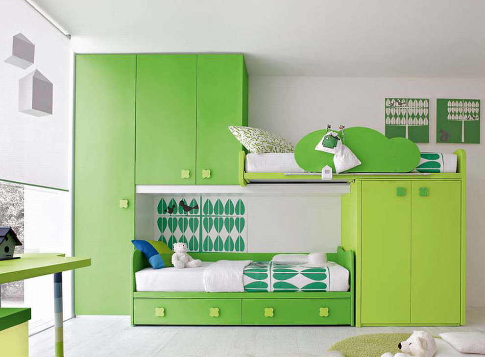 Детская мебель с зелеными фасадами