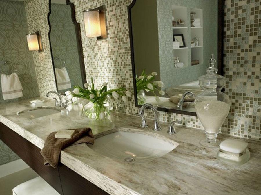 Столешница в ванной с двумя раковинами