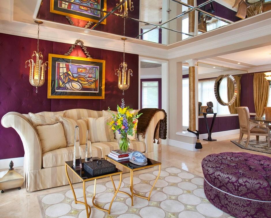 Зонирование гостиной зеркальным потолком