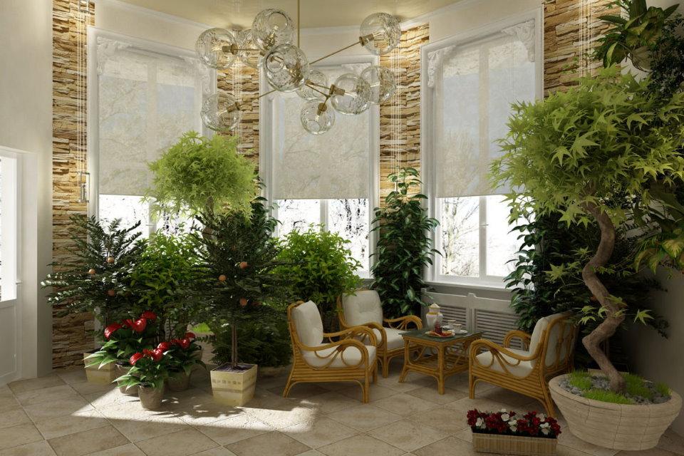 Зимний сад в эркере частного дома