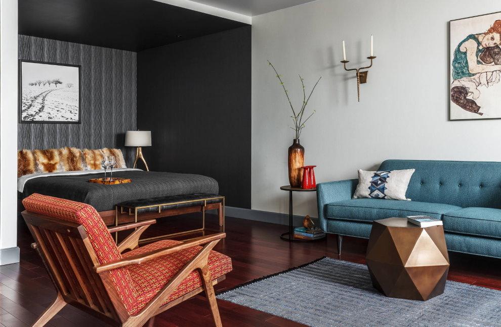 Черные стены в спальной зоне гостиной комнаты