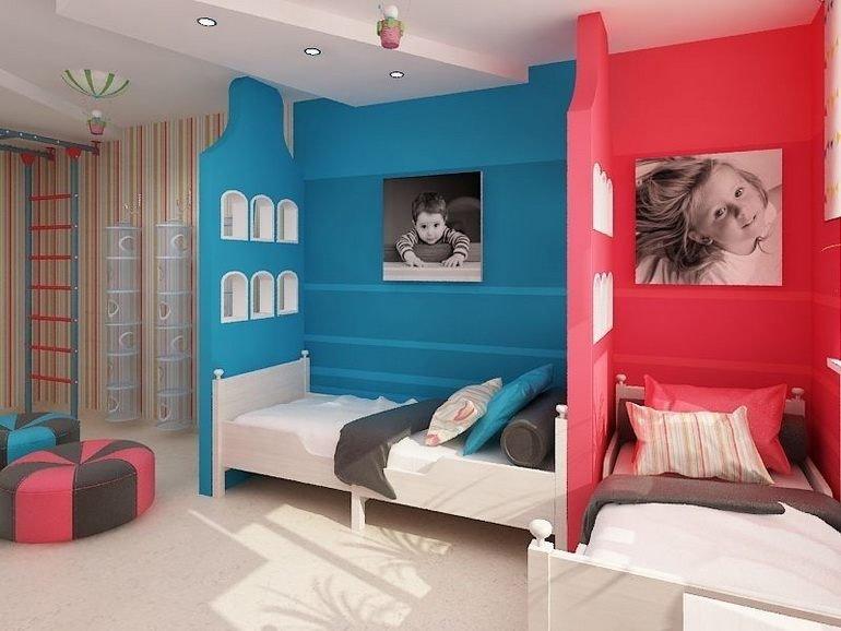 Зонирование комнаты цветом для разнополых детей
