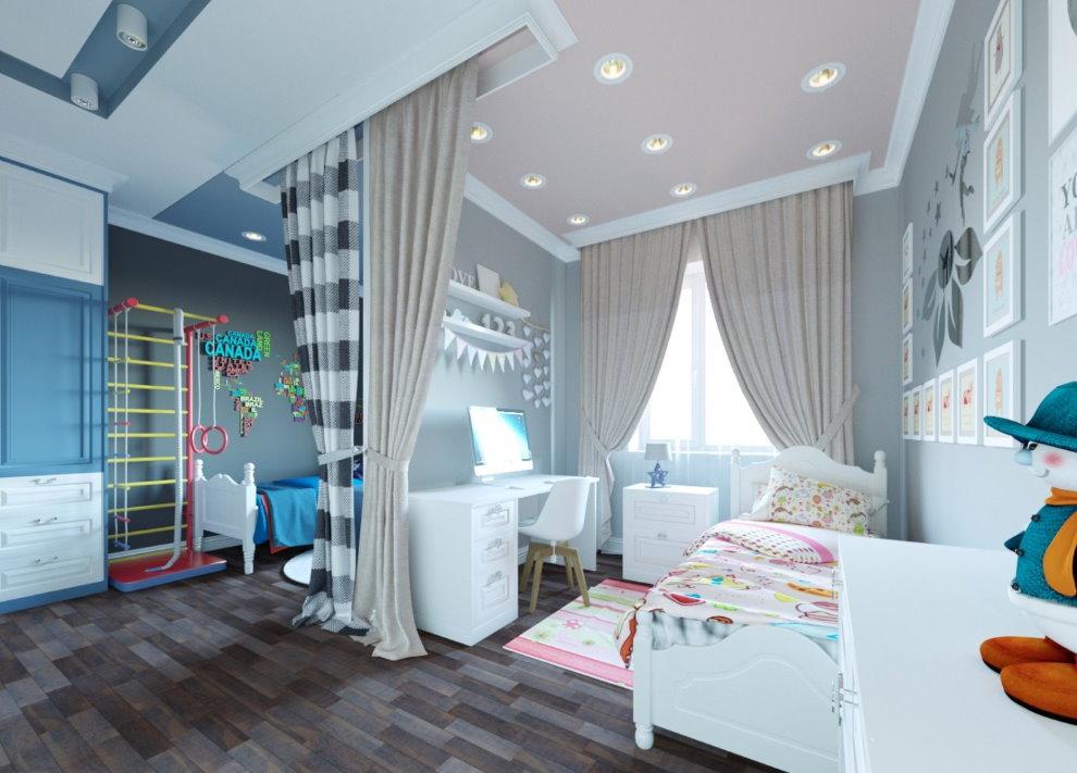 Большая комната для двоих разнополых детей