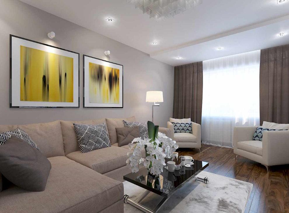 Модульные картины в гостиной частного дома