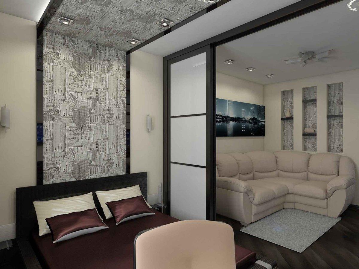 фото зонирования гостиной спальни