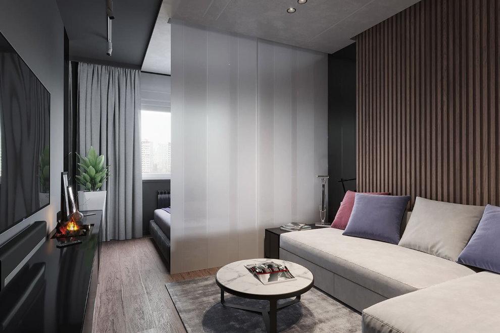 Зонирование однокомнатной квартиры светлыми шторами