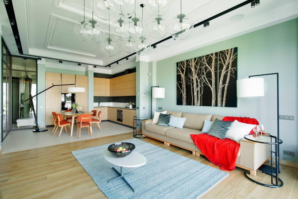 Зонирование полом квартиры студии площадью 37 кв м