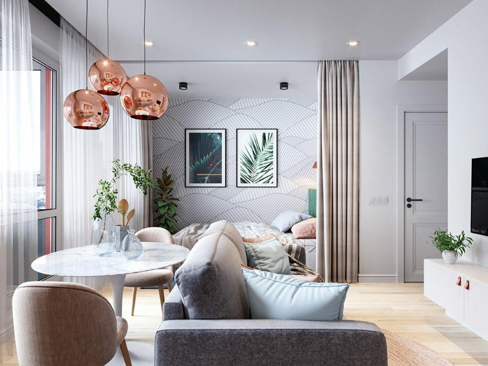 Зонирование однокомнатной квартиры плотной шторой