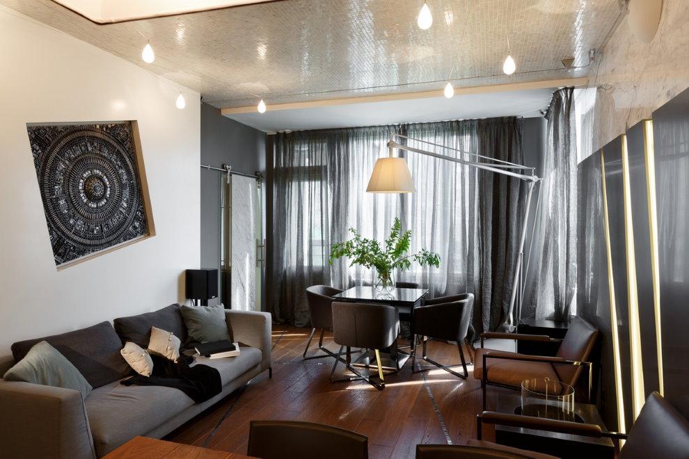 Светильники на потолке гостиной в квартире
