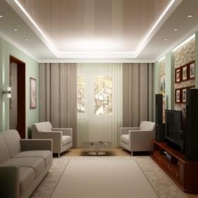 дизайн маленького зала в пастельных тонах