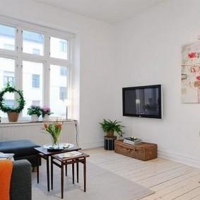 дизайн маленького зала в светлых тонах